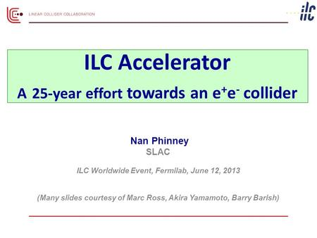 Nan Phinney SLAC ILC Worldwide Event, Fermilab, June 12, 2013 (Many slides courtesy of Marc Ross, Akira Yamamoto, Barry Barish) ILC Accelerator A 25-year.