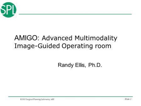 ©2005 Surgical Planning Laboratory, ARR Slide 1 AMIGO: Advanced Multimodality Image-Guided Operating room Randy Ellis, Ph.D.