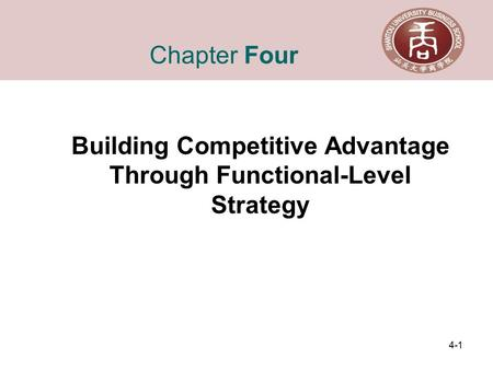 4-1 Chapter Four Building Competitive Advantage Through Functional-Level Strategy.