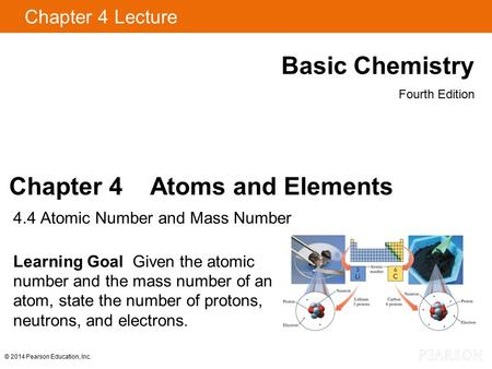 Chapter 4 Lecture Basic Chemistry Fourth Edition Chapter 4 Atoms and Elements 4.4 Atomic Number and Mass Number Learning Goal Given the atomic number and.