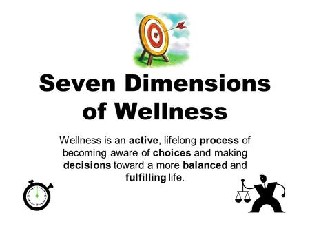 Seven Dimensions of Wellness Wellness is an active, lifelong process of becoming aware of choices and making decisions toward a more balanced and fulfilling.