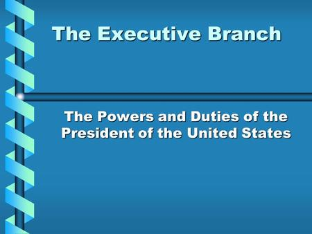 The Executive Branch The Powers and Duties of the President of the United States.