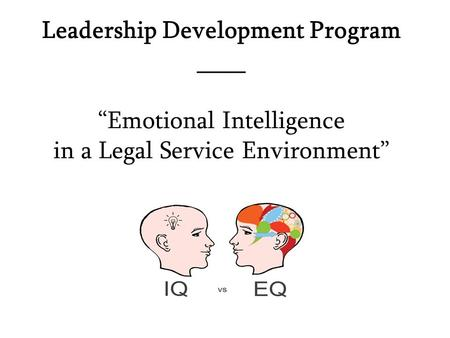 "Leadership Development Program ____ ""Emotional Intelligence in a Legal Service Environment"""