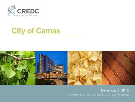 City of Camas December 3, 2012 Presented by Lisa Nisenfeld, CREDC President.