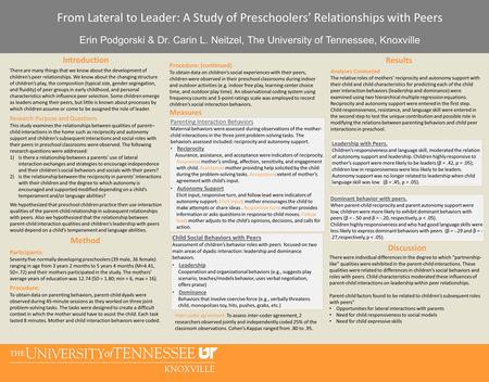 Discussion Results Introduction From Lateral to Leader: A Study of Preschoolers' Relationships with Peers Erin Podgorski & Dr. Carin L. Neitzel, The University.