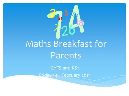 Maths Breakfast for Parents EYFS and KS1 Friday 14 th February 2014.