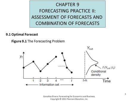 1 CHAPTER 9 FORECASTING PRACTICE II: ASSESSMENT OF FORECASTS AND COMBINATION OF FORECASTS 9.1 Optimal Forecast González-Rivera: Forecasting for Economics.