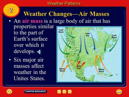 An air mass is a large body of air that has properties similar to the part of Earth's surface over which it develops. Weather Changes—Air Masses Six major.