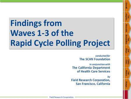 Field Research Corporation Findings from Waves 1-3 of the Rapid Cycle Polling Project conducted for The SCAN Foundation In conjunction with The California.
