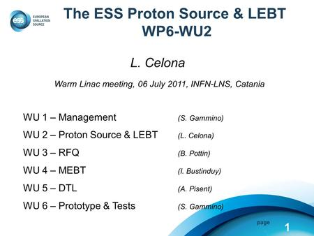 Page The ESS Proton Source & LEBT WP6-WU2 L. Celona Warm Linac meeting, 06 July 2011, INFN-LNS, Catania WU 1 – Management (S. Gammino) WU 2 – Proton Source.