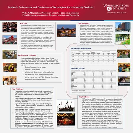 Abstract Improving student success in postsecondary education is a key federal, state, and university objective that is inseparable from the focus on increasing.