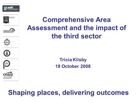 Comprehensive Area Assessment and the impact of the third sector Tricia Kilsby 18 October 2008 Shaping places, delivering outcomes.