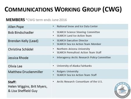 MEMBERS *CWG term ends June 2016 C OMMUNICATIONS W ORKING G ROUP (CWG) Allen Pope National Snow and Ice Data Center Bob Bindschadler SEARCH Science Steering.