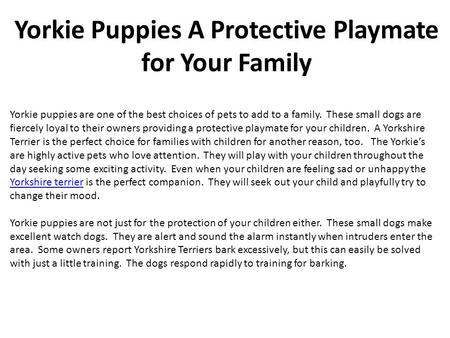 Yorkie Puppies A Protective Playmate for Your Family Yorkie puppies are one of the best choices of pets to add to a family. These small dogs are fiercely.