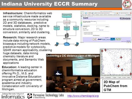 Indiana University School of Indiana University ECCR Summary Infrastructure: Cheminformatics web service infrastructure made available as a community resource.