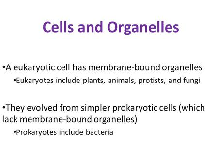 Cells and Organelles A eukaryotic cell has membrane-bound organelles
