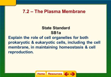 7.2 – The Plasma Membrane State Standard SB1a Explain the role of cell organelles for both prokaryotic & eukaryotic cells, including the cell membrane,
