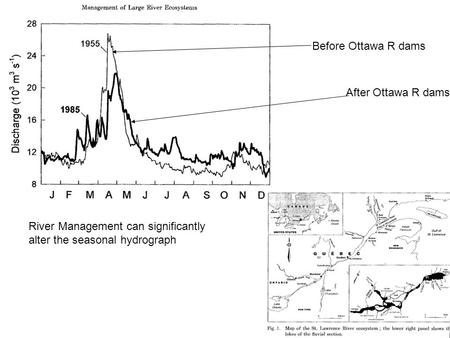 River Management can significantly alter the seasonal hydrograph Before Ottawa R dams After Ottawa R dams.