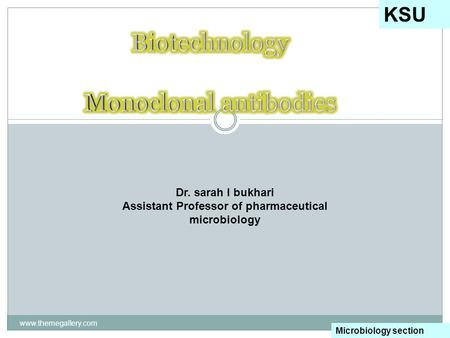 Www.themegallery.com KSU Microbiology section Dr. sarah I bukhari Assistant Professor of pharmaceutical microbiology.