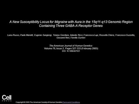 A New Susceptibility Locus for Migraine with Aura in the 15q11-q13 Genomic Region Containing Three GABA-A Receptor Genes Luisa Russo, Paolo Mariotti, Eugenio.