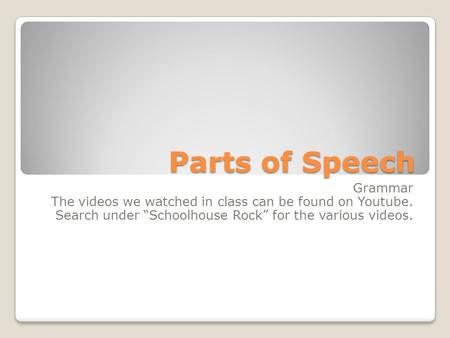 "Parts of Speech Grammar The videos we watched in class can be found on Youtube. Search under ""Schoolhouse Rock"" for the various videos."