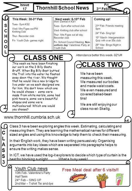 Thornhill School News Issue 17 Fri 3 rd February CLASS3CLASS3 CLASS ONE CLASS TWO SCHOOLSCHOOL Next week: 6-10 th Feb.. www.thornhill.cumbria.sch.uk This.