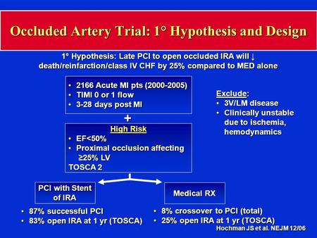 Occluded Artery Trial: 1° Hypothesis and Design 1° Hypothesis: Late PCI to open occluded IRA will ↓ death/reinfarction/class IV CHF by 25% compared to.