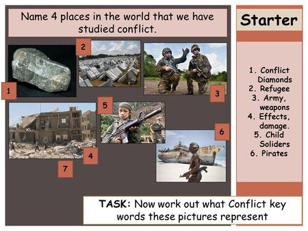 Starter Name 4 places in the world that we have studied conflict. TASK: Now work out what Conflict key words these pictures represent 2 1 3 4 5 6 1.Conflict.