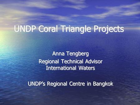UNDP Coral Triangle Projects Anna Tengberg Regional Technical Advisor International Waters UNDP's Regional Centre in Bangkok.