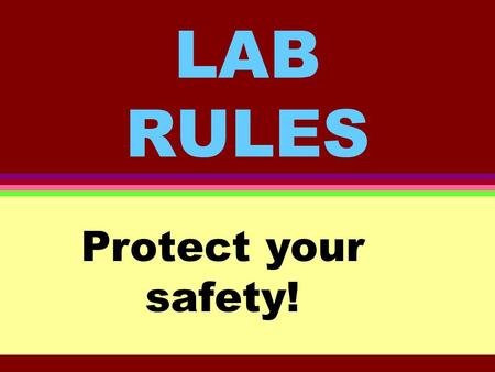 LAB RULES Protect your safety!. Rule #1 Conduct yourself in a responsible manner at all times in the laboratory. What that means: Failure to follow the.