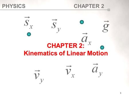 CHAPTER 2: Kinematics of Linear Motion
