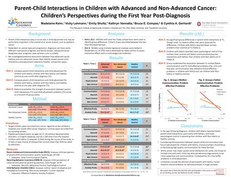 Parent-Child Interactions in Children with Advanced and Non-Advanced Cancer: Children's Perspectives during the First Year Post-Diagnosis 1 The Research.