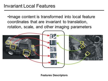Invariant Local Features Image content is transformed into local feature coordinates that are invariant to translation, rotation, scale, and other imaging.