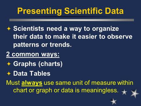 Presenting Scientific Data  Scientists need a way to organize their data to make it easier to observe patterns or trends. 2 common ways:  Graphs (charts)