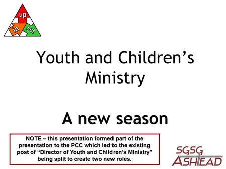 "Youth and Children's Ministry A new season NOTE – this presentation formed part of the presentation to the PCC which led to the existing post of ""Director."
