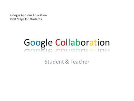 Student & Teacher Google Apps for Education First Steps for Students.