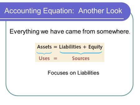 Accounting Equation: Another Look Everything we have came from somewhere. Focuses on Liabilities.