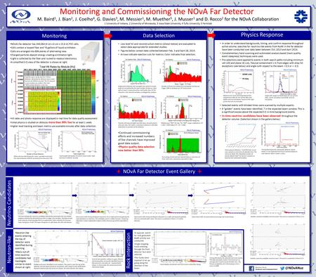 Monitoring and Commissioning the NOνA Far Detector M. Baird 1, J. Bian 2, J. Coelho 4, G. Davies 3, M. Messier 1, M. Muether 5, J. Musser 1 and D. Rocco.