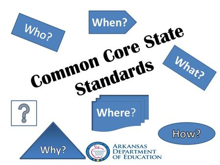 Common Core State Standards What? When? Where?. CCSS CCSS – Where are we now? What is next? How do we get there?