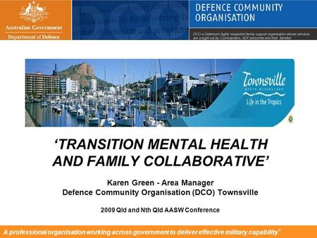 A professional organisation working across government to deliver effective military capability ' 'TRANSITION MENTAL HEALTH AND FAMILY COLLABORATIVE' Karen.