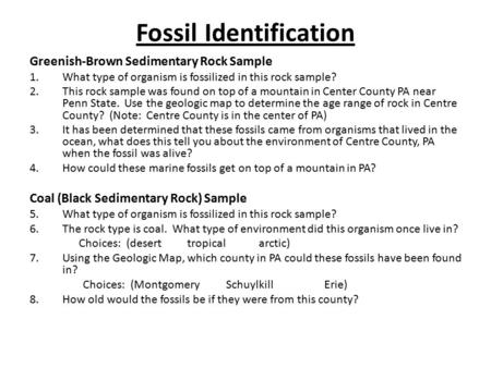 Fossil Identification Greenish-Brown Sedimentary Rock Sample 1.What type of organism is fossilized in this rock sample? 2.This rock sample was found on.
