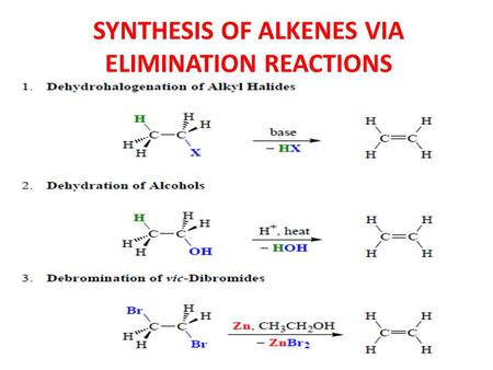 SYNTHESIS OF ALKENES VIA ELIMINATION REACTIONS