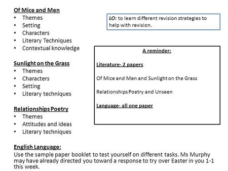 Of Mice and Men Themes Setting Characters Literary Techniques Contextual knowledge Sunlight on the Grass Themes Characters Setting Literary techniques.