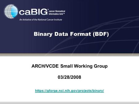 Binary Data Format (BDF) ARCH/VCDE Small Working Group 03/28/2008 https://gforge.nci.nih.gov/projects/binary/