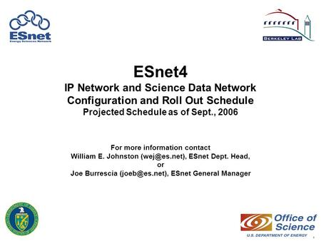 1 ESnet4 IP Network and Science Data Network Configuration and Roll Out Schedule Projected Schedule as of Sept., 2006 For more information contact William.