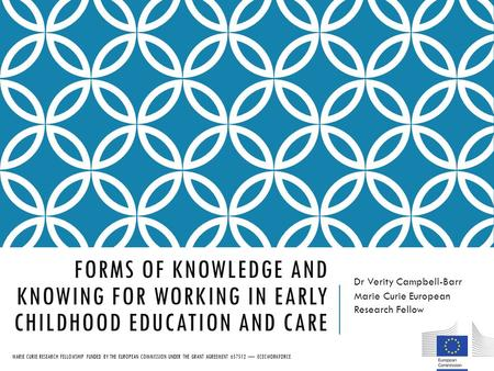 FORMS OF KNOWLEDGE AND KNOWING FOR WORKING IN EARLY CHILDHOOD EDUCATION AND CARE Dr Verity Campbell-Barr Marie Curie European Research Fellow MARIE CURIE.