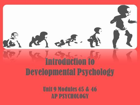 Introduction to Developmental Psychology Unit 9 Modules 45 & 46 AP PSYCHOLOGY.