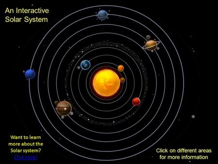 An Interactive Solar System Click on different areas for more information Want to learn more about the Solar system? Click here! Click here!