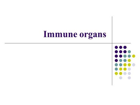 Immune organs.  Central immune organs or primary lymphoid organs the site that lymphocytes generate and mature into functional cells  Peripheral immune.