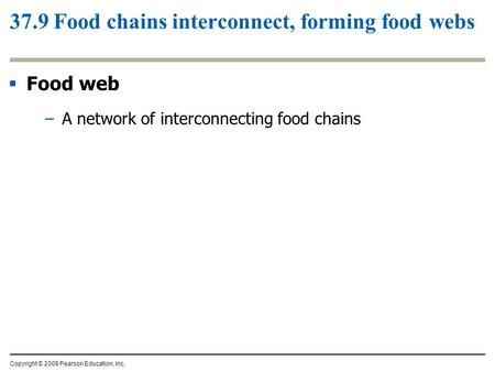 Copyright © 2009 Pearson Education, Inc. 37.9 Food chains interconnect, forming food webs  Food web –A network of interconnecting food chains.